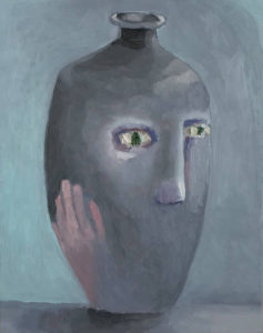 Black Vase with Green Eyes
